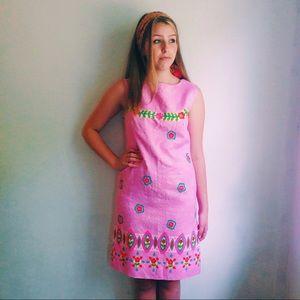 60s Alex Colman Mod Pink & Floral Shift Dress